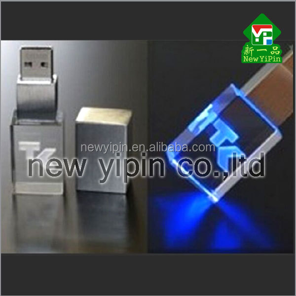 Top selling crystal glass USB Flash Drive with LED Light 8gb usb flash drive promotional for gift with custom logo