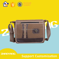2016 Spring new arrival men's vintage canvas leather High Quality messenger bag