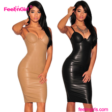 Fashionable strap sleeveless midi bodycon sexy mature leather club dresses for women