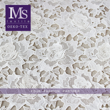 Hot sales 100% embroidery polyester white lace fabric for wedding dress