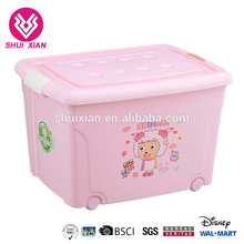 Plastic Cartoon Printed Storage Boxes With Wheels For Clothes Toy