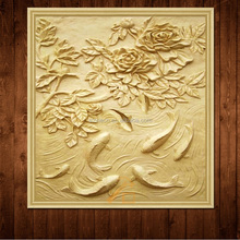 Sandstone Handcarved Animal Flower Relief Sculpture