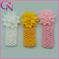 Elactic Knitting Headband With Flowers For Baby Girl