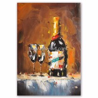 Knife pallet wine bottle oil painting on canvas