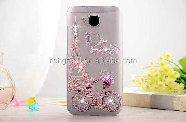 3D Crystal Rhinestone Bling Hard Case For Huawei Ascend G8 D199