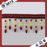Red Beaded Tassel Lace Trim Fringe for Curtain H0me Textile Accessories