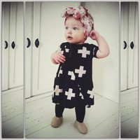 2015 wholesale baby girl cute fashion dress casual cotton children infant girl cross dress