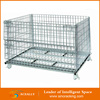 Collapsible Steel Welded Wire Basket Cage With Wheels