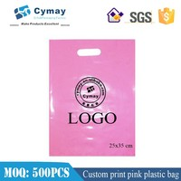 Custom pink plastic bag,plastic gift bag 25x35cm