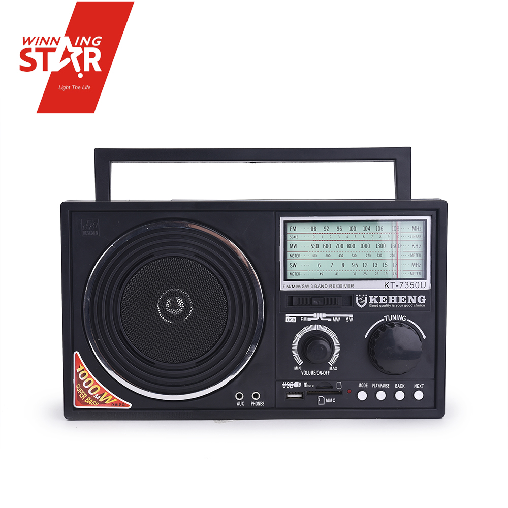 Digital fm am mw sw radio 3 band rechargeable player
