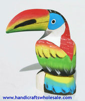 Colored Balsa Toucan Figurine, Wooden Sculptures of Birds, Carvings for Sale, Handmade in Ecuador