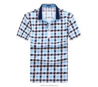 2016 New design men short sleeves custom polo t shirt 100% cotton check printing