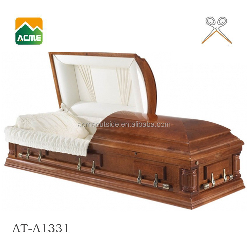 luxury funeral adult hand carved wooden casket