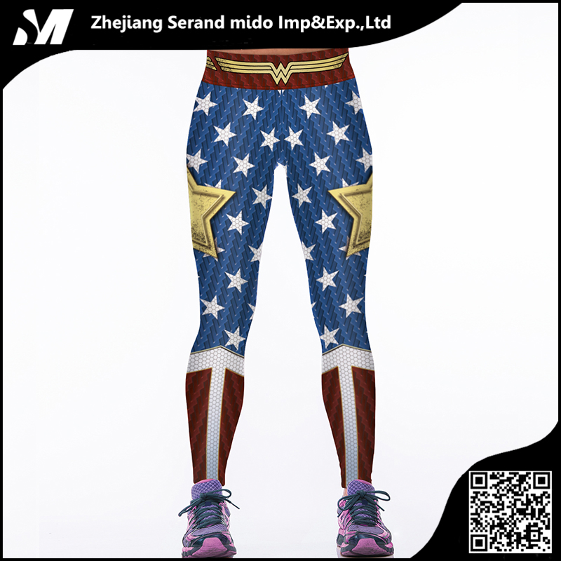 American Flag Printed Women Wholesale Dylan Sports Tight Digital Printing Breathable Sexy Pants