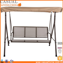 3 Seater Cushioned Patio Swing With UV Protected Canopy