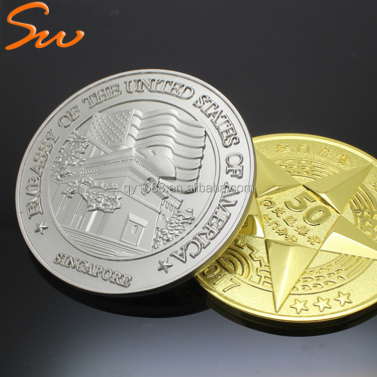 Custom logo metal gold and silver token euro commemorative coin,souvenir challenge coin