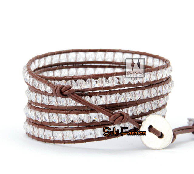 New Arrival Clear Crystal Brown Leather Wrap Bracelet Braided Leather Bracelet Handmade Jewelry