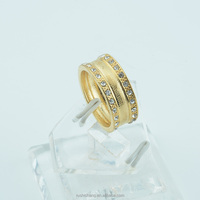 Islam Middle East Africa Muslim Size 6-11 Men Ladies Yellow Gold Plated Rings Filled Crystal CZ Round Engagement Rings