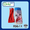 CE/ISO approved dirt resistant red dip flocklined household cheap glove with opp bags