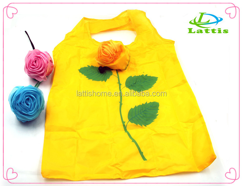 Custom polyester rose shape reusable folding shopping bag travel bag