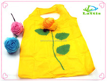 Custom polyester rose shape reusable folding shopping bag handle bag
