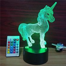 3D LED Night Light, 3D Optical Illusion Visual Lamp 7 Colors Touch Table Desk Lamp Unicorn