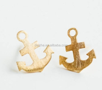 18K gold plated plain with brush anchor connector charm 925 silver matt gold anchor charm for necklace