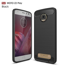 Waterproof back cover carbon fiber tpu mobile phone case for Motorola Moto Z2 Play