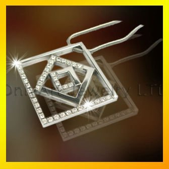 small order fast delivery square shape cz pendant with high qualtiy necklace paypal acceptable