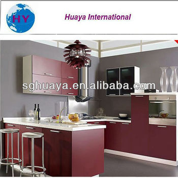 Best selling kitchen cabinet wine red color melamine door for Muebles de cocina vibbo