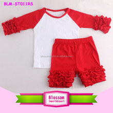 Red/white ruffle raglan t shirt and icing shorts set kids ruffle sleeve raglan tshirt/ruffle raglan