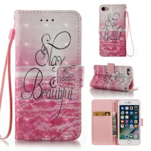 For iPhone 7 3D Painted PU Leather Flip Case, Credit Card Slot Wallet Filp Back Cover for iPhone 7 Leather