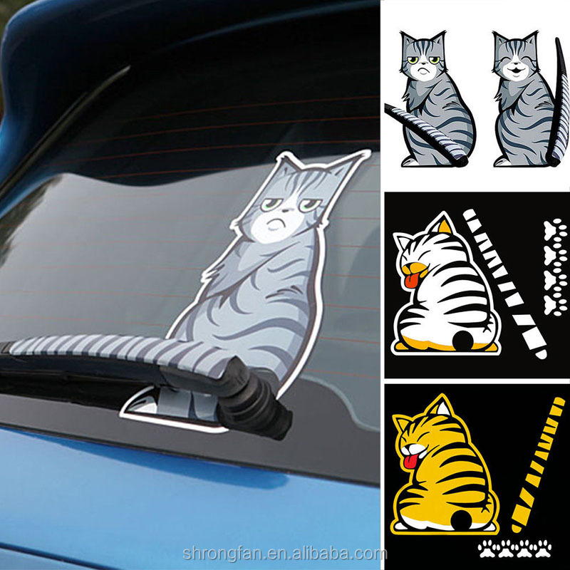 Cartoon Funny Cat Moving Tail Sticker Reflective Car Window Car Decals