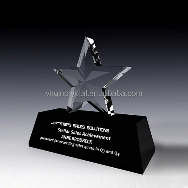 3D Laser Engraved Rising Star Crystal Plaques And Awards Crystal Awards For Rising Star