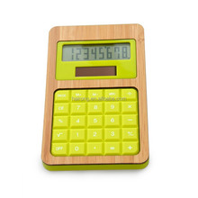Hairong high quality DIY eco bamboo promotional gifts patent design bamboo solar desktop calculator