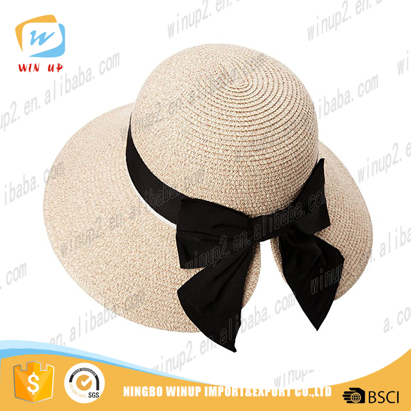 Winup hot sale men folding straw hats ladies straw hat floral hat wholesale