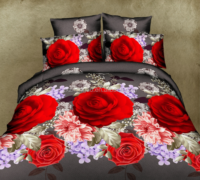 2016 3D Home Textile Big Flower Printed 4pcs Bedding <strong>Set</strong>