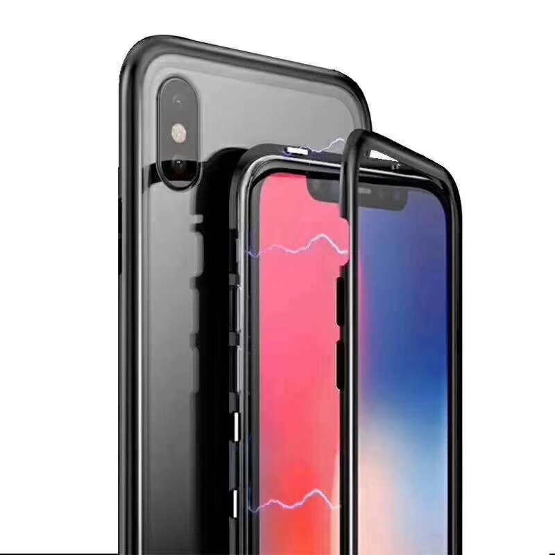 for iphone X case 360 magnetic aluminum bumper glass case phone <strong>cover</strong>