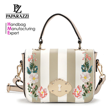 8646 2018 Top workmanship floral embroidery fashion shoulder hand bag lady handbag with amazing stripe printing