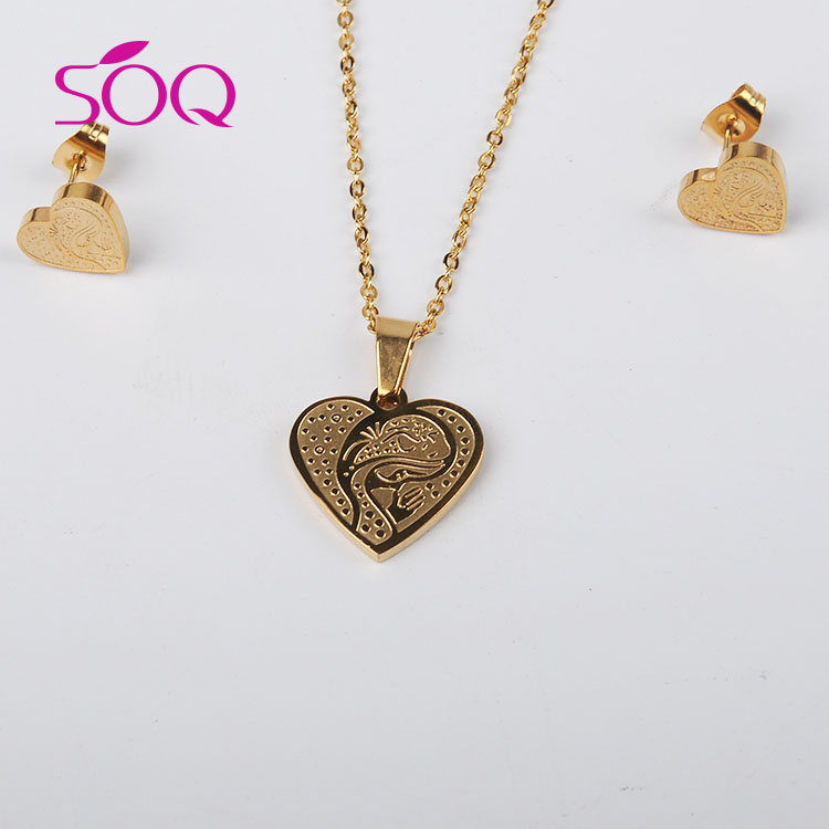 stainless steel gold heart pendant jewelry set designs best birthday gift for girlfriend image