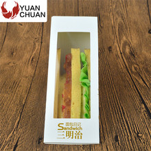 Disposable triangle shaped sandwich take away box with window