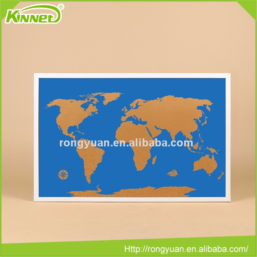 customized World map printed bulletin cork board pin board