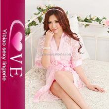 Cute Female Pink Lace Satin Dress Romantic Nightwear Sleepwear Babydoll