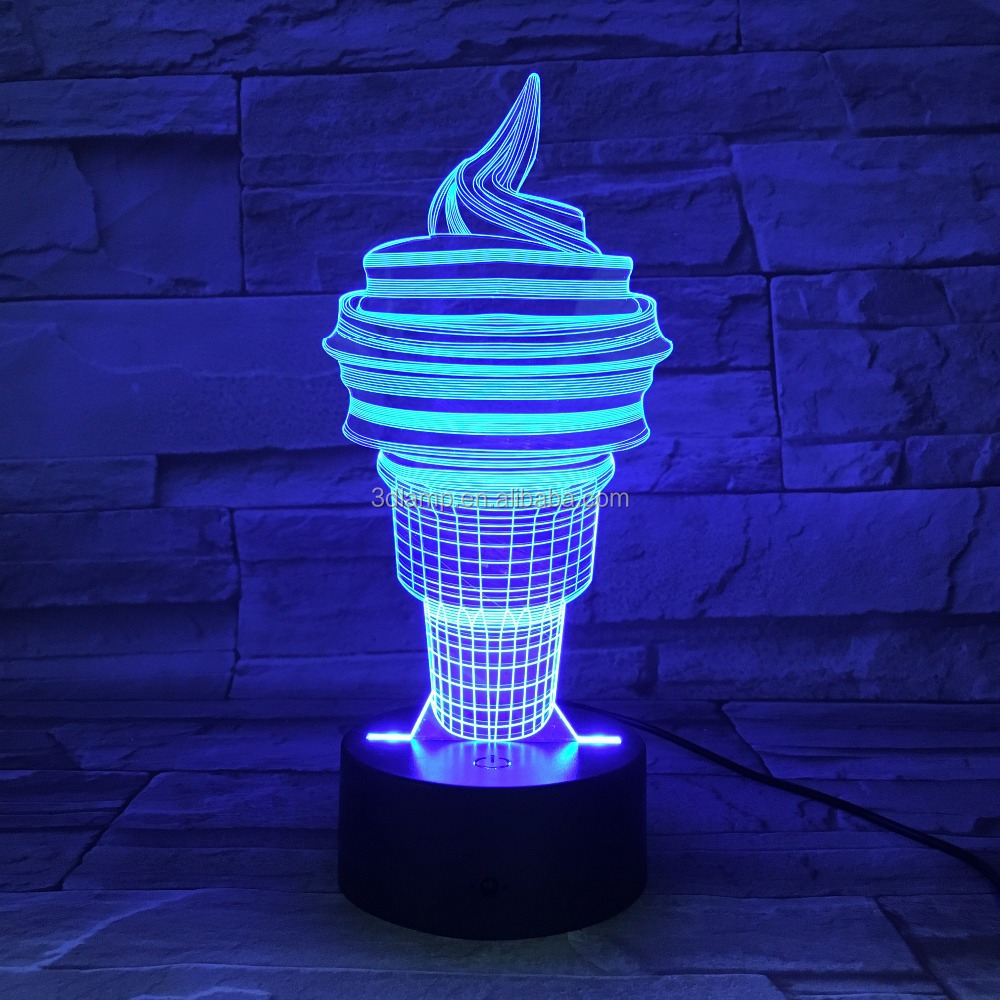 3D Desk Lamp ice cream Gift Acrylic Night light LED light Furniture Decorative colorful 7 color change household Home Accessory