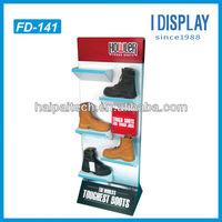 point of sale shoe corrugated cardboard display shelf , wall mount shoe display shelf