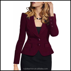 2016 Fashion Long Sleeves Elegant Women Office Suit With one Button Slim Fit Blazer