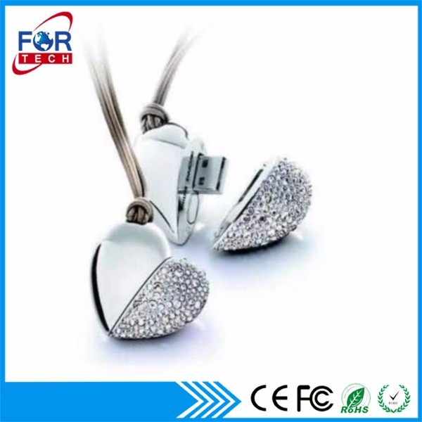 Top Fashion Diamond USB Flash Drives Heart Love Best Wedding Return Gifts USB