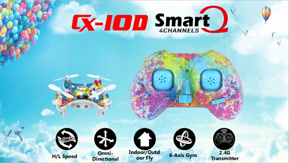 R C toy 2016 Smart Q CX-10D Mini Quadcopter drone military With Three Gear Mode