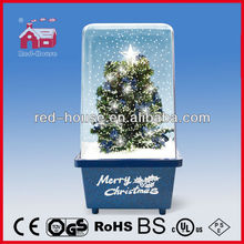 Christmas Tree with Plastic Transparent Cover Top Star Decorated LED Lights Snowing Christmas Decoration
