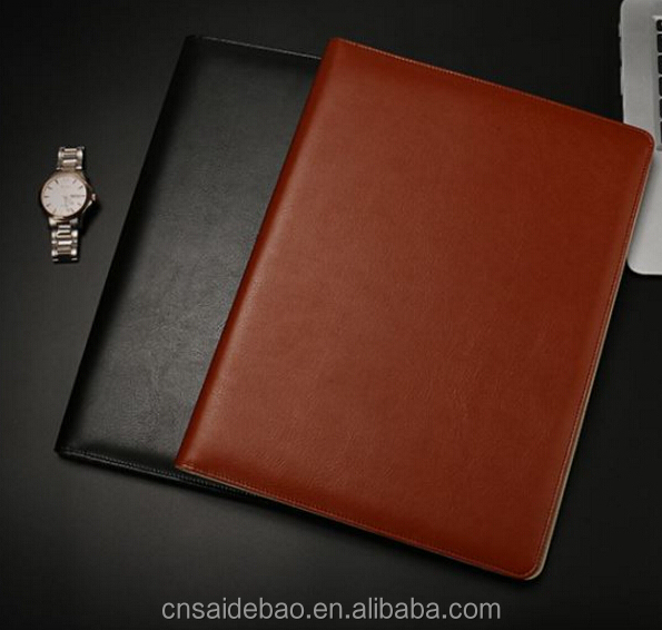 A4 High quality manager/synthetic leather cover folder Built-in slot pen holder and calculator custom logo colour